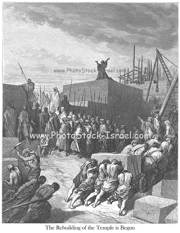 The Rebuilding of the Temple Ezra 3:11 From the book 'Bible Gallery' Illustrated by Gustave Dore with Memoir of Dore and Descriptive Letter-press by Talbot W. Chambers D.D. Published by Cassell & Company Limited in London and simultaneously by Mame in Tours, France in 1866