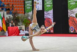 July 28, 2018 - Chieti, Abruzzo, Italy - Junior Rhythmic gymnast Emeli Erbes of Germany performs her ball routine during the Rhythmic Gymnastics pre World Championship Italy-Ukraine-Germany at Palatricalle on 29th of July 2018 in Chieti Italy. (Credit Image: © Franco Romano/NurPhoto via ZUMA Press)