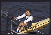 London. United Kingdom. Mark POLLACUTT. , 1990 Scullers Head of the River Race. River Thames, viewpoint Chiswick Bridge Saturday 07.04.1990<br /> <br /> [Mandatory Credit; Peter SPURRIER/Intersport Images] 19900407 Scullers Head, London Engl