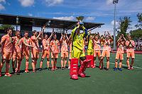 AMSTELVEEN - keeper Pirmin Blaak (Ned)  met beker  viert het kampioenschap tijdens de finale van het EK Hockey tussen Duitsland en Nederland in het Wagener Stadion op 12 juni 2021 in Amstelveen. COPYRIGHT KOEN SUYK