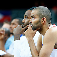 06 August 2012: France Tony Parker is seen on the bench during 79-73 Team France victory over Team Nigeria, during the men's basketball preliminary, at the Basketball Arena, in London, Great Britain.