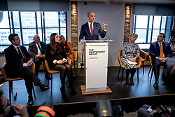 © Licensed to London News Pictures. 18/02/2019. London, UK. Former Labour MP Chuka Umunna speaks at an event in Westminster, London, where a group of seven former Labour MPs announced the formation a new political party, The Independent Group. Formed by breakaway Labour MPs who disagree with Labour Party action on Brexit and Antisemitism. Photo credit: Rob Pinney/LNP