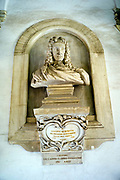 Bust of Giacomo Serpotta outside the Oratorio del Rosario di Santa Cita which he created between 1686 and 1718, Palermo, Italy