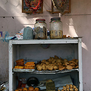 Food items on display at a road side food stall in Kolkata, January 2007