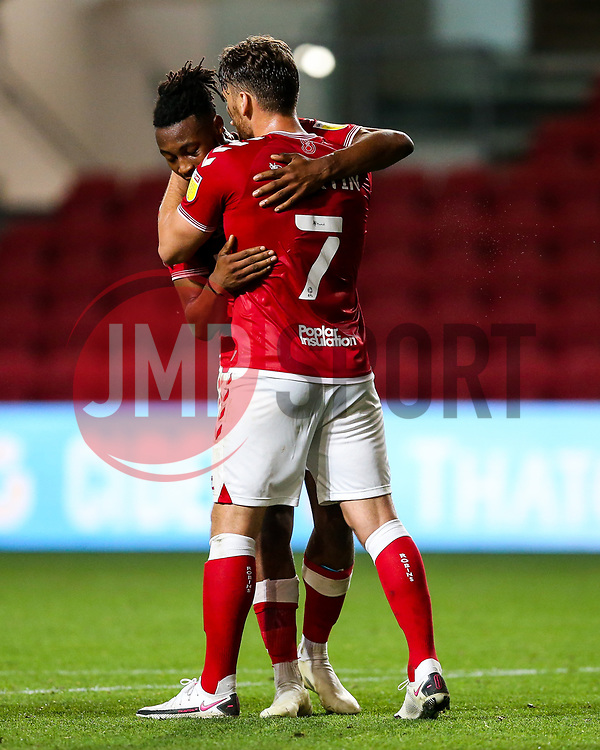 Antoine Semenyo of Bristol City celebrates witb Chris Martin after scoring a goal to make it 3-0 - Rogan/JMP - 16/09/2020 - Ashton Gate Stadium - Bristol, England - Bristol City v Northampton Town - Carabao Cup Second Round.