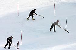 Reparing course at 9th men's slalom race of Audi FIS Ski World Cup, Pokal Vitranc,  in Podkoren, Kranjska Gora, Slovenia, on March 1, 2009. (Photo by Vid Ponikvar / Sportida)