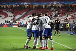 December 5, 2017 - Lisbon, Lisbon, Portugal - Fc Basel forward Dimitri Oberlin from Switzerland celebrating with is team mate after scoring a goal during the match between SL Benfica v FC Basel UEFA Champions League playoff match at Luz Stadium on December 5, 2017 in Lisbon, Portugal. (Credit Image: © Dpi/NurPhoto via ZUMA Press)
