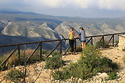 Two women at Mirador del Xap viewpoint, Vall de Gallinera, Marina Alta, Alicante province, Spain
