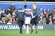 Queens Park Rangers forward Idrissa Sylla (40) being helped off the pitch injured during the EFL Sky Bet Championship match between Queens Park Rangers and Ipswich Town at the Loftus Road Stadium, London, England on 2 January 2017. Photo by Matthew Redman.