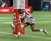 VANCOUVER, BC - MARCH 11: Perry Baker (#11) of USA scores a 2nd try during Game # 40- United States vs Kenya Cup SF 2 match at the Canada Sevens held March 10-11, 2018 in BC Place Stadium in Vancouver, BC. (Photo by Allan Hamilton/Icon Sportswire)
