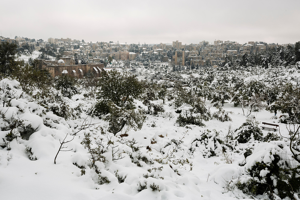 A general view of the snow covered Valley of the Cross in Jerusalem, Israel, on February 20, 2015. Over 20 centimeters of snow covered Jerusalem overnight, causing school and road closures, as a powerful winter storm descended on parts of the Middle East on Friday.