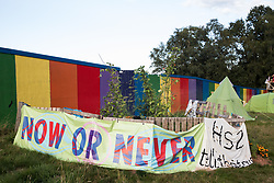 Banners are draped in front of the vegetable garden at Crackley Woods Protection Camp on 24th August 2020 in Kenilworth, United Kingdom. Anti-HS2 activists continue to protest against and attempt to prevent or delay works in connection with the controversial HS2 high-speed rail link from a series of camps along the Phase One route from Euston to north of Birmingham.