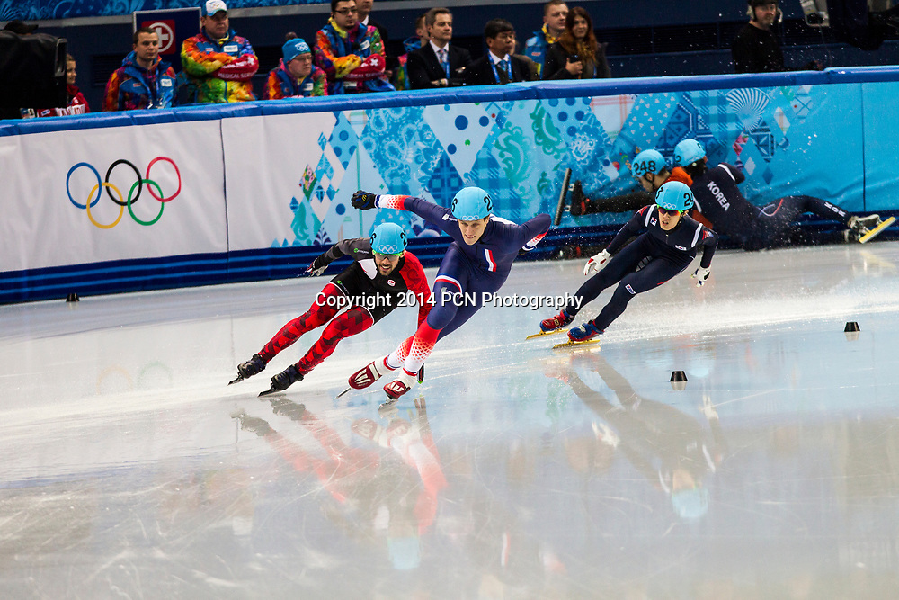 Sebastien Lepape (FRA) and Francois Hamelin (CAN) competing in the Men's Short Track 1500m finals B at the  Olympic Winter Games, Sochi 2014