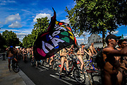 (Editor's Note: EXPLICIT NUDITY) <br /> Hundreds of Cyclists ride along Westminster Bridge in central London, as they take part in the World Naked Bike Ride on Saturday, Aug 14, 2021. An environmental pro-bike protest started at multiple locations around the capital and converged in central London. (VX Photo/ Vudi Xhymshiti)