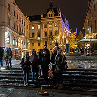 LJUBLJANA, SLOVENIA - DECEMBER 02:  Carol Singers sing in the decorated city centre on December 2, 2017 in Ljubljana, Slovenia. The traditional Christmas market and lights will stay until 1st week of January 2018.  (Photo by Marco Secchi/Getty Images)