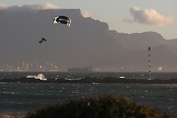 Steven Akkerdijk of Holland during the Red Bull King of the Air kiteboarding competition held at Big Bay in Cape Town, South Africa on the 2nd February 2017.<br /> <br /> Photo by Shaun Roy<br /> <br /> Fee Bearing Image