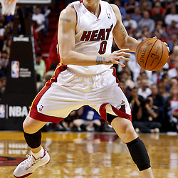 March 3, 2011; Miami, FL, USA; Miami Heat point guard Mike Bibby (0) during a game against the Orlando Magic at the American Airlines Arena. The Magic defeated the Heat 99-96.    Mandatory Credit: Derick E. Hingle