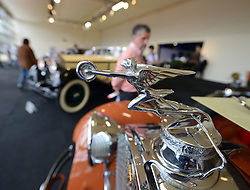 © Licensed to London News Pictures. 08/09/2013. London, England. RM Auctions Classic Car auction at Battersea Evolution, London. Photo credit : Mike King/LNP. RM Auctions 8-9 September 2013 at Battersea Evolution. Detail from a 1929 Packard Custom Eight Roadster.
