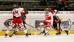 13.11.2018, Messestadion, Dornbirn, AUT, EBEL, Dornbirn Bulldogs vs HCB Suedtirol Alperia, 21. Runde, im Bild v. l. Daniel Frank (HCB Suedtirol Alperia), Juuso Eemeli Pulli (Dornbirn Bulldogs), Anton Bernard (HCB Suedtirol Alperia) und Brodie Dupont (Dornbirn Bulldogs) // during the Erste Bank Eishockey League 21th round match between Dornbirn Bulldogs and HCB Suedtirol Alperia at the Messestadion in Dornbirn, Austria on 2018/11/13. EXPA Pictures © 2018, PhotoCredit: EXPA/ Peter Rinderer