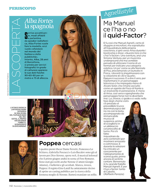 Spanish beauty Alba Fortes, who recently placed Top 15 in the Miss Spain competition, is Panorama magazine's new discovery this week. <br /> <br /> Image from our shoot 'Alba Fortes', available for worldwide use with approval: http://www.apixsyndication.com/gallery/Alba-Fortes/G00002vG6ZS223pc/C0000eXzPZ01c2qM
