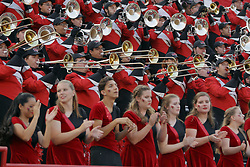 02 September 2017:   Big Red Marching Machine plays from the stands during the Butler Bulldogs at  Illinois State Redbirds Football game at Hancock Stadium in Normal IL (Photo by Alan Look)