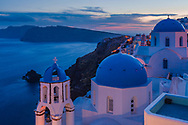 White greek churches with blue domes