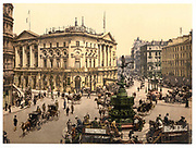 Stunning Old photochrome prints turn back the clock in London <br /><br />colourised postcards from the Victorian era,  postcards were made using photochrom - a method of producing colourised photos from negatives<br /><br />Photo shows: Piccadilly Circus, London, England, England, between 1890 and 1900<br />©Library of Congress/Exclusivepix Media