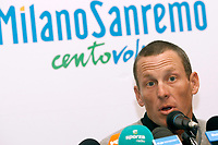 Sykkel<br /> Foto: DPPI/Digitalsport<br /> NORWAY ONLY<br /> <br /> CYCLING - MILAN SAN REMO 2009 - PRESS CONFERENCE LANCE ARMSTRONG (USA) / ASTANA - MILANO (ITA) - 20/03/2009