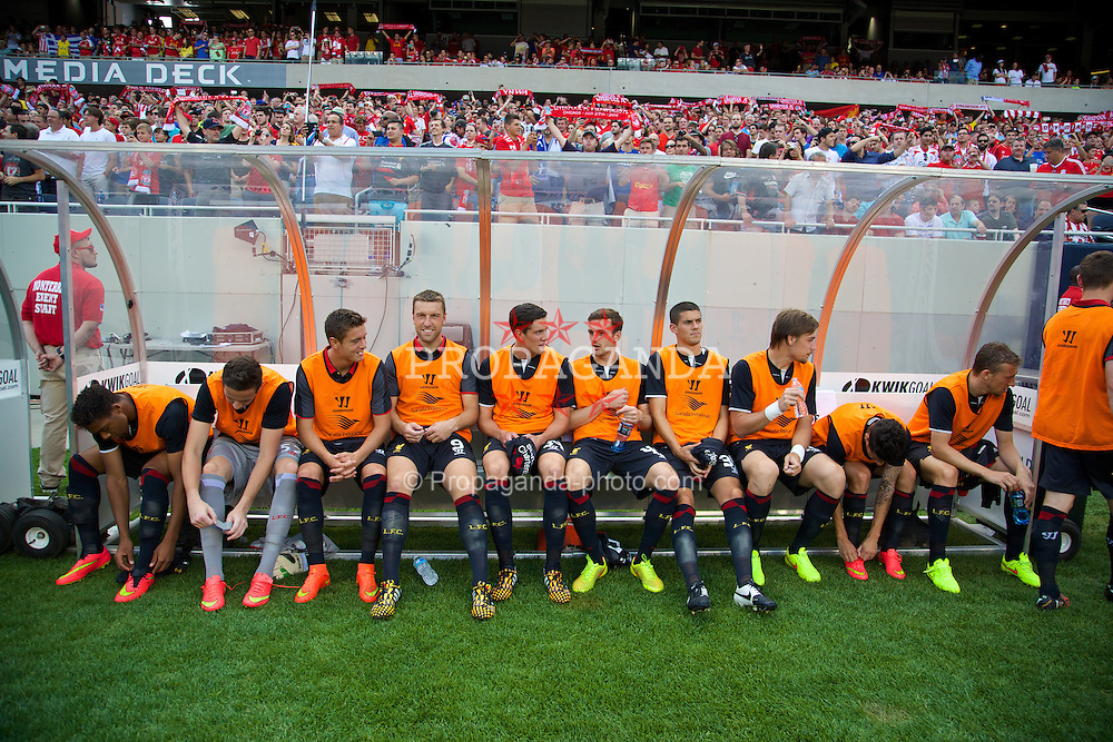CHICAGO, USA - Sunday, July 27, 2014: Liverpool's substitutes before the International Champions Cup Group B match against Olympiacos at the Soldier Field Stadium on day seven of the club's USA Tour. (Pic by David Rawcliffe/Propaganda)