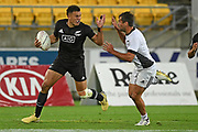 Akuila Rokolisoa makes a break in the All Blacks Sevens match, Sky Stadium, Wellington, Sunday, April 11, 2021. Copyright photo: Kerry Marshall / www.photosport.nz