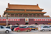 Tian'an Men gate or the Gate of Heavenly Peace with traffic in Beijing, China