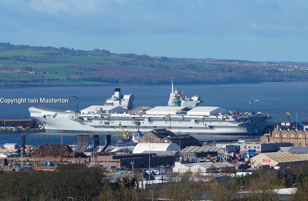 19 Feb, 2019. Royal Navy HMS Prince of Wales aircraft Carrier under construction at Babcock Marine shipyard at Rosyth Dockyard in Fife, Scotland, UK