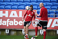 Gareth Bale of Wales and James Collins of Wales ® during Wales football team training session at the Cardiff city stadium  in Cardiff, South Wales  on Monday 12th October 2015. The team are training ahead of their final Euro 2016 qualifying against Andorra tomorrow.<br /> pic by  Andrew Orchard, Andrew Orchard sports photography.