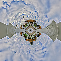 Andalusia Plaza in Granada Terrace. Historic Northeast St. Petersburg, Florida.  (360 degree Little Planet View). Composite of 39 images taken with a Fuji X-T3 camera and 8-16 mm lens (ISO 160, 16 mm, f/16, 1/60 sec). Raw images processed with Capture One Pro and AutoPano Giga Pro.