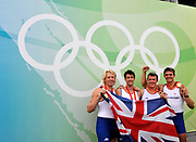 Shunyi, CHINA.   Gold Medalist, GBR M4-,  Tom JAMES, Steve WILLIAMS, Peter REED and Andy TRIGGS HODGE, on the awards dock, at the 2008 Olympic Regatta, Shunyi Rowing Course.  Sat,.16.08.2008.  [Mandatory Credit: Peter SPURRIER, Intersport Images