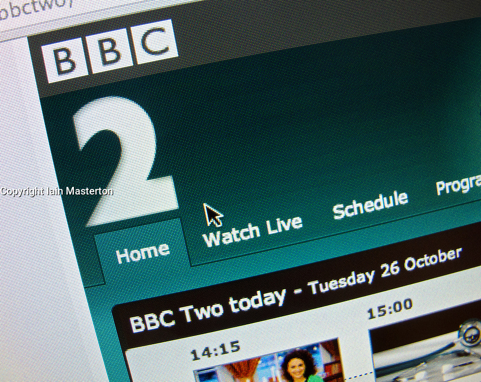 Detail of BBC Two television channel website homepage screen shot