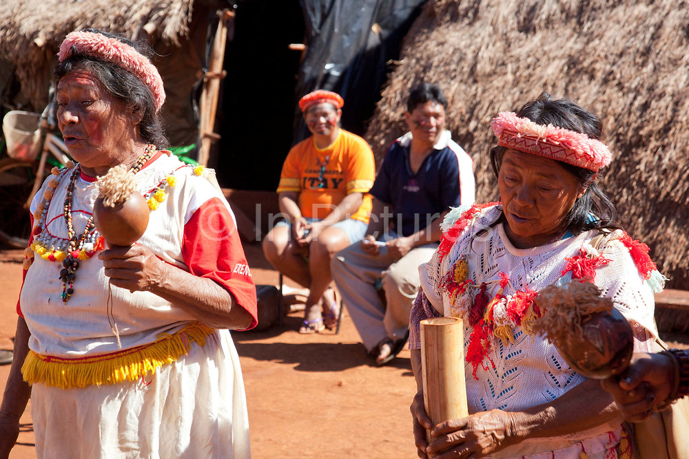 Guarani women community showing a traditional dance and music. The Guarani are one of the most populous indigenous populations in Brazil, but with the least amount of land. They mostly live in the State of Mato Grosso do Sul and Mato Grosso. Their tradtional way of life and ancestral land is increasingly at risk from large scale agribusiness and agriculture. There have been recorded cases and allegations of violence between owners of large farms and the Guarani communities in this region.