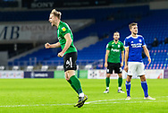 CELE Birmingham City's Marc Roberts (4) celebrates scoring his side's second goal during the EFL Sky Bet Championship match between Cardiff City and Birmingham City at the Cardiff City Stadium, Cardiff, Wales on 16 December 2020.