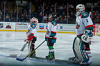 KELOWNA, CANADA - JANUARY 3: Two mini minor hockey players stand on the ice as the Pepsi players of the game with James Porter #1 of the Kelowna Rockets against the Tri-City Americans on January 3, 2017 at Prospera Place in Kelowna, British Columbia, Canada.  (Photo by Marissa Baecker/Shoot the Breeze)  *** Local Caption ***