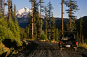 USA, Oregon, Willamette National Forest, Mt. Jefferson, Jeep Comanche