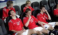 Fotball<br /> Landskamp International U19 G19<br /> Kvalifisering Qualification EM <br /> 04.06.07<br /> Nye Fredrikstad Stadion<br /> Norge Norway U-19 - Spania Spain U-19<br /> Veldig skuffet e norske spillere etter kampen (L-R - Øverst) Erling Knudtzon , Endre Knudsen (nederst) Even Hovland , Kim Andre Madsen og Agim Shabani<br /> Foto - Kasper Wikestad