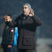 Besiktas's coach Samet Aybaba during their Turkish Superleague soccer match SB Elazigspor between Besiktas at the Ataturk Stadium in Elazig Turkey on Saturday, 09 February 2013. Photo by Aykut AKICI/TURKPIX