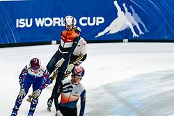 Itzhak de Laat in action on the 5000 meter relay during ISU World Cup Finals Shorttrack 2020 on February 15, 2020 in Optisport Sportboulevard Dordrecht.