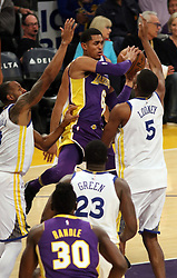 November 29, 2017 - Los Angeles, California, U.S - Jordan Clarkson #6 of the Los Angeles Lakers passes the ball during their game with the Golden State Warriors on Wednesday November 29, 2017 at the Staples Center in Los Angeles, California. Lakers lose to Warriors, 127-123. (Credit Image: © Prensa Internacional via ZUMA Wire)
