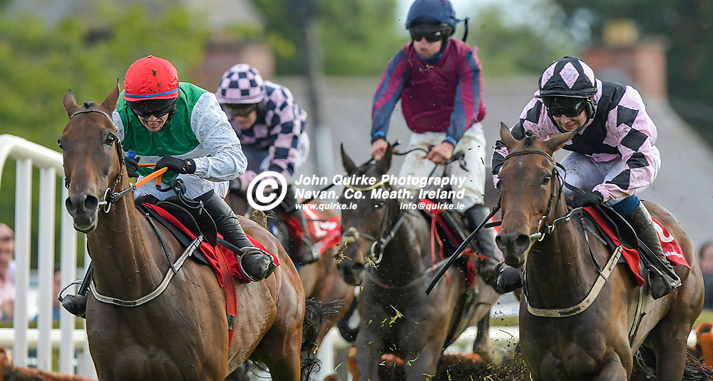 'Loudest Whisper' (right) and Jordan Gainford dashing to the line to win 'The Bar One Racing `Putting The Customer First` Handicap Hurdle'  at Bellewstown Races, for trainer Emonn Delany.<br /> <br /> Photo: GERRY SHANAHAN-WWW.QUIRKE.IE<br /> <br /> 03-07-2021