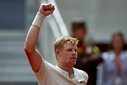 May 9, 2018 - Madrid, Madrid, Spain - Kyle Edmund of Great Britain celebrates the victory in his match against Novak Djokovic of Serbia during day five of the Mutua Madrid Open tennis tournament at the Caja Magica on May 9, 2018 in Madrid, Spain  (Credit Image: © David Aliaga/NurPhoto via ZUMA Press)