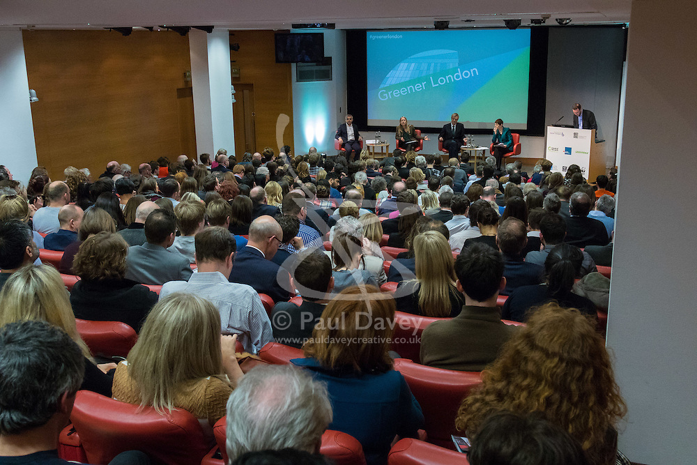 Royal Society of Medicine, London, March 4th 2016. A general view f the audience and panel, left to roight, Labour Party mayoral candidate Sadiq Khan, Green Party mayoral candidate Sian Berry, Conservative Party mayoral candidate Zac Goldsmith and Liberal Democrat mayoral candidate Caroline Pidgeon, at the Greener London Mayoral hustings held at the Royal Society of Medicine in London. ///FOR LICENCING CONTACT: paul@pauldaveycreative.co.uk TEL:+44 (0) 7966 016 296 or +44 (0) 20 8969 6875. ©2015 Paul R Davey. All rights reserved.