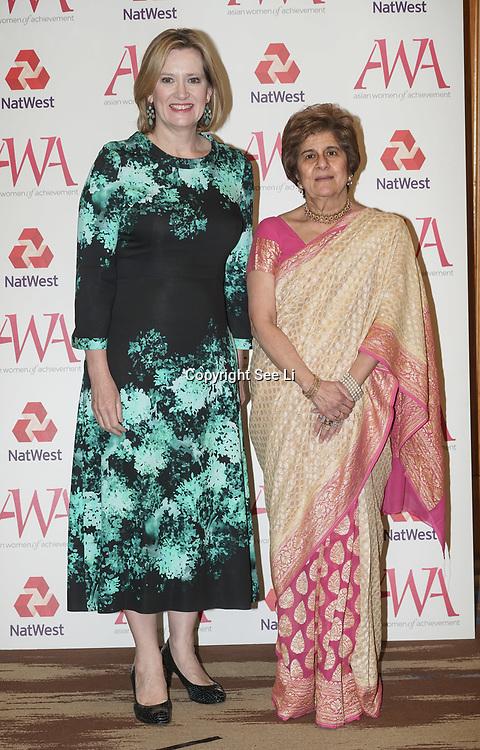 London, UK. 10th May 2017. Rt Hon Amber Rudd,Pinky Lilani attends The Asian Women of Achievement Awards 2017 at the London Hilton on Park Lane Hotel. Photo by See li Credit: See Li