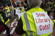 Llibrary campaigners, arts and culture lovers and museum and gallery workers stage a national demonstration, supported by PCS and Unite, in London against cuts to our sector. The march went from the British Library to trafalgar Square, where their were speaches.