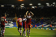 Middlesbrough's Daniel Sanchez Ayala (c) celebrates after scoring his sides 2nd goal during the Skybet football league championship match, Birmingham city v Middlesbrough at St.Andrew's in Birmingham, England on Sat 7th Dec 2013. pic by Jeff Thomas/Andrew Orchard sports photography.